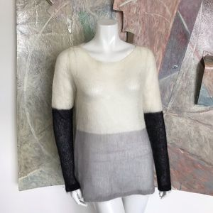 Eileen Fisher Mohair Wool Color Block Sweater